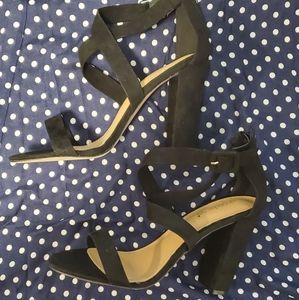 Strappy Block Heels - Black